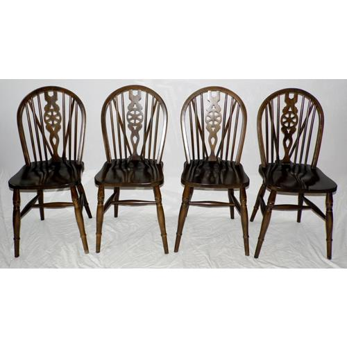 4 x Solid Priory Oak Style Vintage Wheel Back  Farmhouse Dining Chairs.