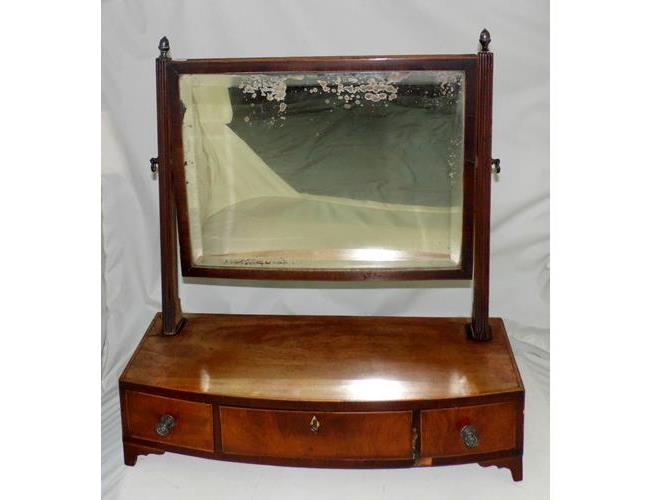 Georgian Mahogany Bowfronted Dressing Chest  Mirror. Early 19thc.