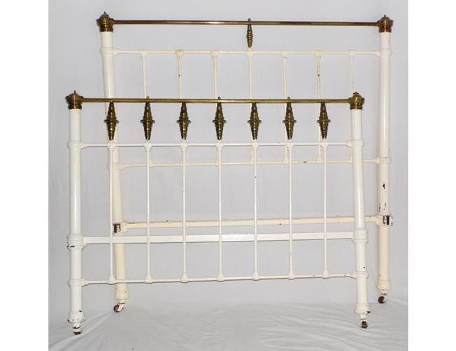 Victorian Brass and Iron Double Bed Frame &  Side Rails. 19thc.