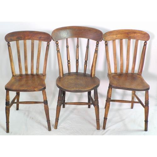 3 Victorian Elm Kitchen Chairs. 19thc.