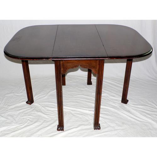 1920s Oak Gateleg Table on Reeded Supports.  20thc.