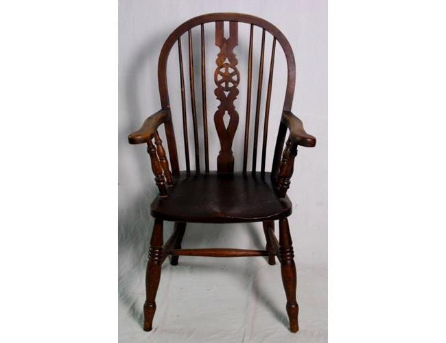 Victorian Elm and Ash Wheelback Arm Chair  19thc.