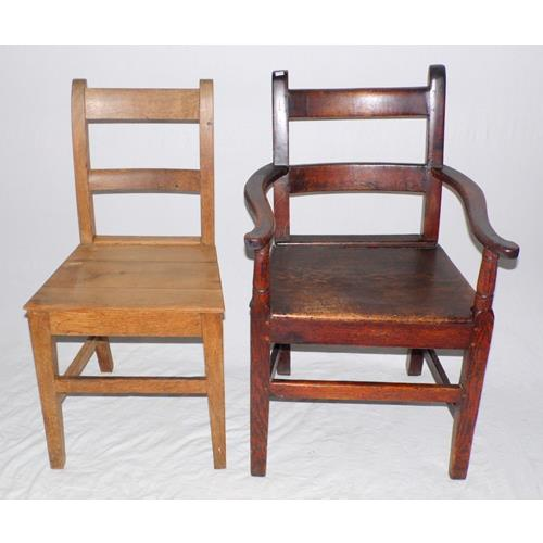 Antique Country Oak Bar Back Armchair and  Dining Chair. Early 19thc.