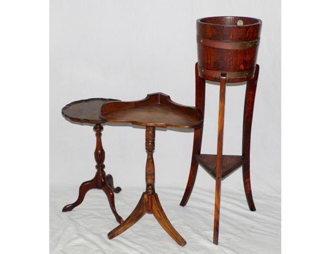 1920s Oak Jardiniere Stand.. Oak Corner Table  on Tripod Base