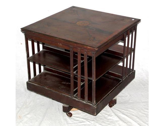 Victorian Mahogany Inlaid Revolving Bookcase.