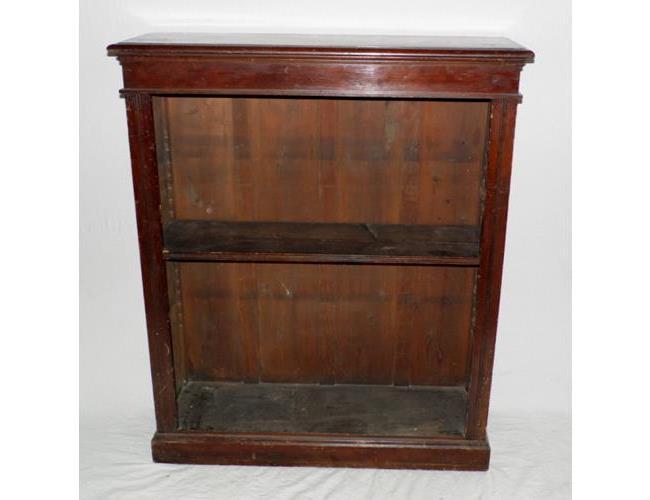 Edwardian Mahogany Open Dwarf Bookcase on  Plinth Base. Early 1900s.