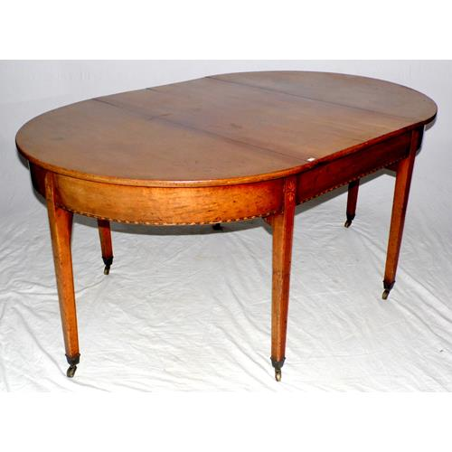Georgian Mahogany D End Dining Table which  Comfortably Seats Six. Early 19thc.