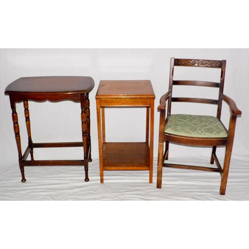 1920s Oak Side Tables and a Carved Oak Arm  Chair.
