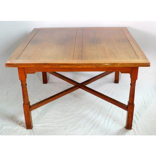 1920s Large Oak Drawer Leaf Table on Turned  Legs Linked with X Stretcher.