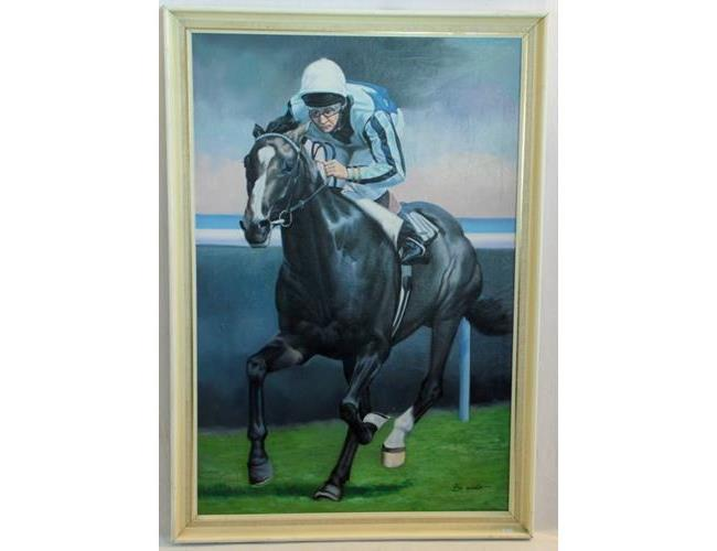 A Signed Original Oil on Canvas Painting by  Guy Woods 'Lester Piggott Riding Trojan Fen'