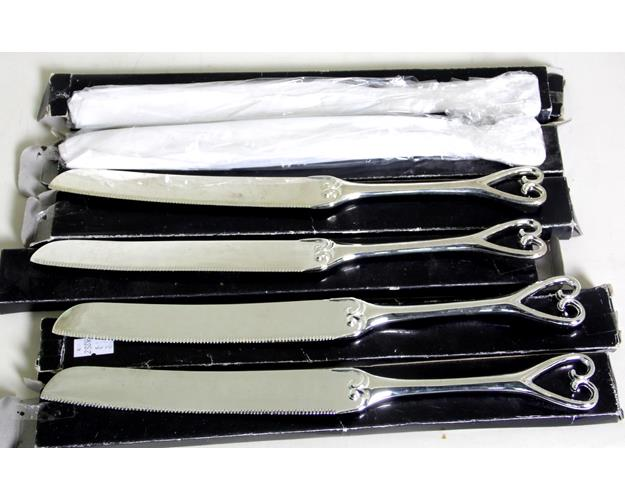 6 Heart Shaped Silver Plate EPNS Wedding Cake  Knives.