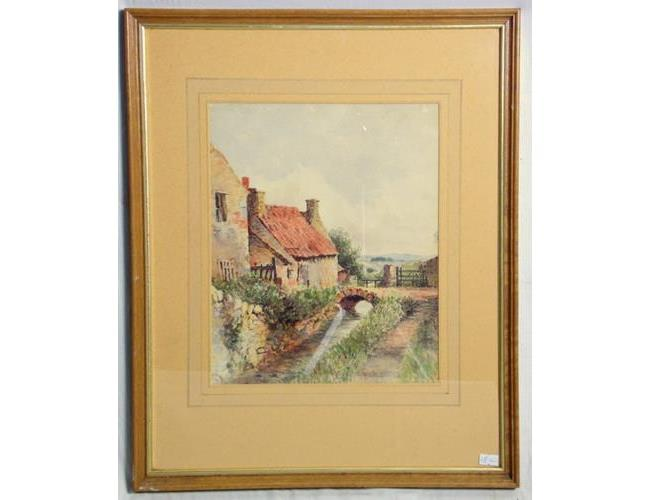 Watercolour River Landscape. 20thc. Framed  under glass 54 x 44 cm.