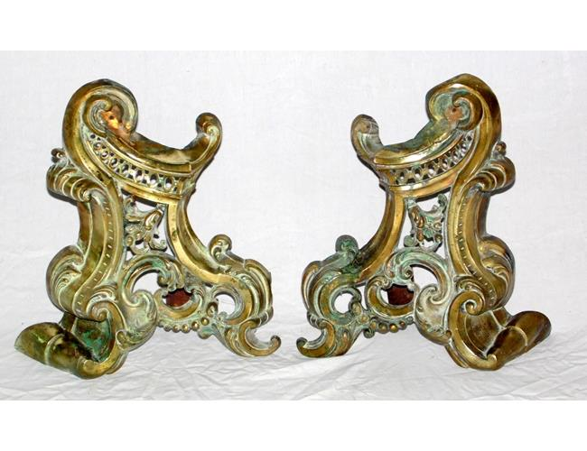 Antique Pair of French Brass Chenets. 19thc.