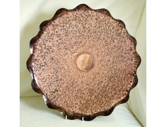 Arts and Crafts Circular Fluted Copper Tray.