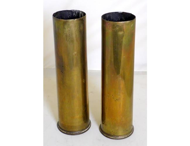 A Pair of WWI 75mm Shell Cases Dated 1915