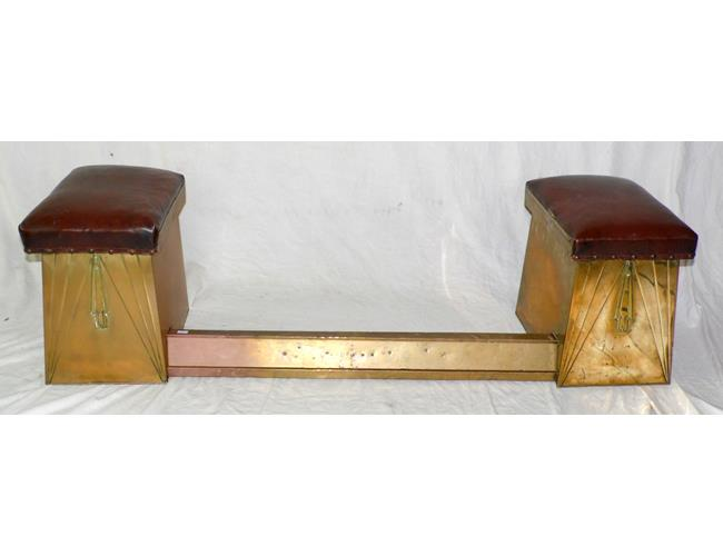 Art Deco Embossed Brass Club Fire Fender Surround